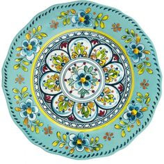Le Cadeaux 11 in. Round Dinner Plate - Madrid Turquoise Set of 4 - Outdoor Dinnerware at Hayneedle