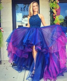$219.99 Halter Prom Dress,Custom Made Evening Dress,Double Colors Homecoming Dress