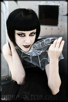 """worn off"" matte black lipstick, black winged eye makeup, black Louise Brooks bob - FYI scarf from Kteis"