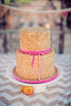 20 DIY Glitter Wedding Theme Ideas & Inspiration   Confetti Daydreams - DIY Glitter Wedding Cake with pink ribbon detail ♥