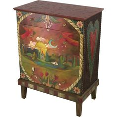 """Sticks creates this artistic one-of-a-kind dresser constructed of hard wood. Hand drawn whimsical designs are burnt in, and then painted. * Size: 20""""D. x 36""""W. x 48""""H. * Signed, Dated Anything you can"""