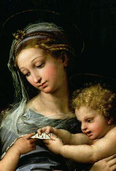 The Madonna of the Rose detail, 1518-20, Musée du Prado Raphaël