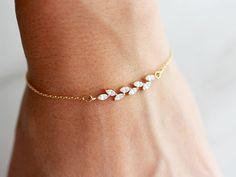 Buy Now Dainty Bracelet / Crystal Bracelet / Delicate Bracelet /. Dainty Bracelets, Dainty Jewelry, Crystal Bracelets, Cute Jewelry, Wedding Jewelry, Chain Bracelets, Wedding Bracelets, Geek Jewelry, Gold Necklaces