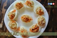Hummus adds more fiber and protein to typical deviled eggs and cuts down the unhealthy mayonnaise
