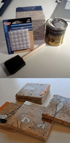 DIY Coasters - Less than a dollar apiece! travertine tiles from Home Depot - paint on them with regular ink and/or acrylic paint. Coat with polyurthane and stick felt pads to the bottom. Granite Tile, Travertine Tile, Recycled Crafts, Handmade Crafts, Diy Crafts, Home Depot Paint, Diy Coasters, Adult Crafts, Just Smile
