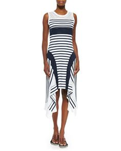 B2VX7 Jean Paul Gaultier Sport-Stripe Handkerchief-Hem Tank Dress