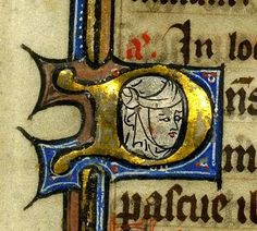 Pretty in all its simplicity: portrait of a medieval lady with head cover (LillyLibraryMedRen 47, 13th c).