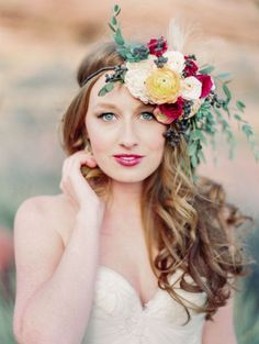 floral wedding hairstyle; Bare Root Flora via Mountainside Bride