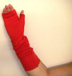 merino slouchy fingerless gloves in red for $35.00 at etsy.com