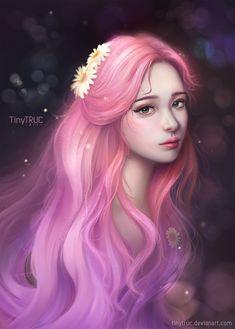 Portrait Girl - Blue Hair by TinyTruc on DeviantArt Chica Fantasy, Fantasy Girl, Girl Cartoon, Cartoon Art, Dibujos Tumblr A Color, Girl With Pink Hair, Beautiful Fantasy Art, Foto Art, Digital Art Girl