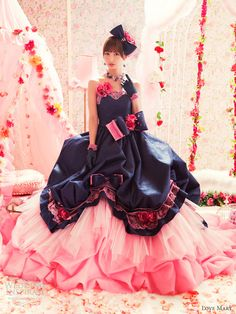 love mary navy pink wedding dress ball gown
