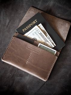 "Bas and Lokes Handmade Leather Goods - ""Keryn"" Brown Handmade Leather Passport Wallet, $95.00 (http://www.basandlokes.com/keryn-brown-handmade-leather-passport-wallet/)"