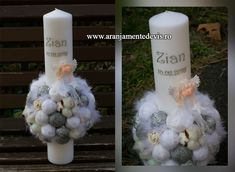 Christening Decorations, Pillar Candles, Projects To Try, Homemade, Party, Wedding, Business, Blue Prints, Valentines Day Weddings