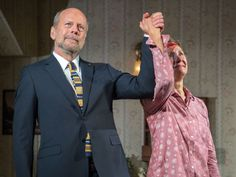 Bruce Willis and Laurie Metcalf take their curtain call during the first Broadway performance 'Misery,' on Thursday, at the Broadhurst Theatre.  Grant Lamos IV, Getty Images