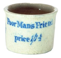 Poor Mans Friend printed ceramic ointment pot. Quack cure. c 1890s