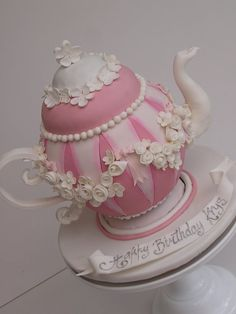 Wow so artistic and creative the creator of this cake. This cake was for a lovely lady whose daughter had organised a surprise birthday high tea party x :) Pretty Cakes, Beautiful Cakes, Amazing Cakes, Fondant Cakes, Cupcake Cakes, Fruit Cakes, Cake Original, Teapot Cake, Pink Teapot