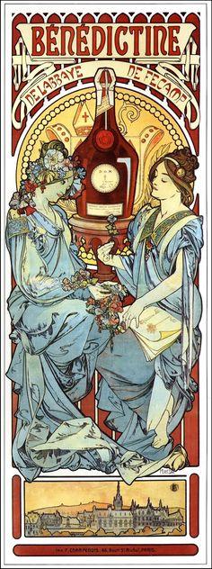 """Art by Alphonse Mucha (1898) - """"Benedictine."""""""
