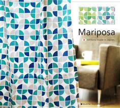 カーテン クオーターリポート QUATERREPORT Mariposa マリポーサ シンプル テキスタイル インテリア 既成 レトロ 生地 幾何学 幾何学模様 ジオメトリック柄 グリーン ブルー 北欧 ファブリック 日本製 新生活