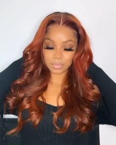 Copper Brown Hair Loose Wavy Human Lace Wig - - Real product photo info: hair color: same as the picture hair length: Hair Color For Dark Skin, Ginger Hair Color, Loose Hairstyles, Pretty Hairstyles, Copper Brown Hair, Curly Hair Styles, Natural Hair Styles, Lace Hair, Tips Belleza