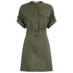Burberry Lora Shirt Dress (31.285 RUB) ❤ liked on Polyvore featuring dresses, burberry, long shirt dress, military shirt dress, olive dress, army green shirt dress and military style dress