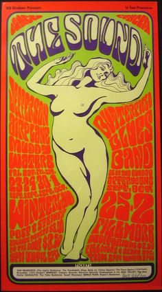 A classic by Wes Wilson, the godfather of psychedelic poster art.     Date: 30/9-2/10 1966   Venue: Winterland and Fillmore Auditorium   Bands: Jefferson Airplane, Muddy Waters, Butterfield Blues Band   Print: Fifth print from 1967 or 1968, signed by Wes Wilson.