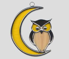 Owl on Moon suncatcher