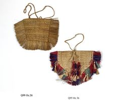 Two-handled bag made of New Zealand flax, fringed on three sides, with decorative threadwork (synthetic thread ?).