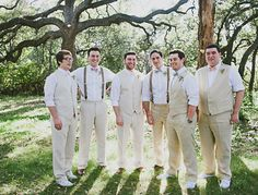 I love the mismatched look of done suspenders on groomsmen with some in vests and some with neither