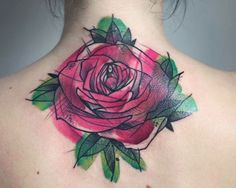 Abstract Red rose Tattoo On Upperback