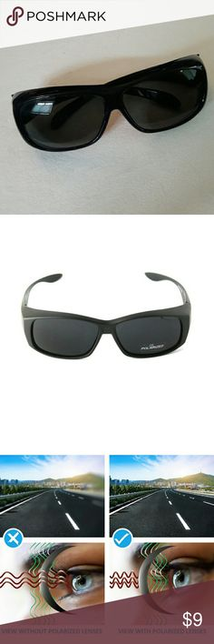 POLARIZED SUNGLASSES FIT OVER RX GLASSES Like new. POLARIZED. Designed to fit over prescription sunglasses.  A couple scratches from normal wear. Medium. Accessories Sunglasses