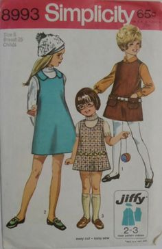 Vintage Simplicity UNCUT #8993 Size 6 Child's Jiffy Jumper with 2 Necklines