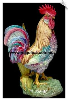 French Majolica rooster Ceramic Chicken, Chicken Art, Ceramic Clay, Porcelain Ceramics, Antique Crocks, Rooster Kitchen, Rooster Decor, Chickens And Roosters, Hens