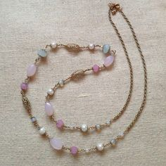 Vintage Bead Necklace Gold chain necklace with pastel colored beads Vintage Jewelry Necklaces