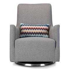 The Grazia Swivel Modern Nursery Glider chair has rounded high back and swiveling base that provide a superior comfort and freedom of movement. Glider Chair, Swivel Glider, White Plastic Chairs, Nursing Chair, Baby Rocker, Thing 1, Office Chair Without Wheels, Bedroom Chair, Nursery Furniture