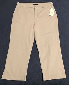c66e71818b0 Details about NYDJ Not Your Daughters Jeans Original Slimming Chino Size 12  Khaki Capri NWT