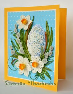 Easter Quilling Card - Easter Day quilling Card - Polka dot 3D Easter egg quilling Card - Polka dot
