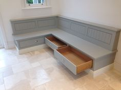 Image result for bench seating built in L shaped kitchen