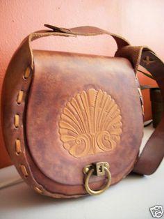 Vtg 70s Leather Hand Tooled Shell Purse Shoulder Bag Hippie Chic Boho OOAK | eBay
