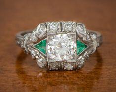 1.50ct Old Mine Diamond Handmade Platinum by EstateDiamondJewelry