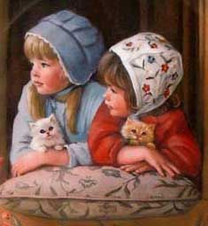 Solve Beautiful Children jigsaw puzzle online with 306 pieces Precious Children, Beautiful Children, Paintings I Love, Beautiful Paintings, Illustrations, Illustration Art, American Artists, Vintage Children, Cat Art