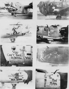 "Nose art of B-24 Liberators including a shark mouth, nicknamed ""Little Lambsy Divey"", nicknamed ""Here I Go Again"", nicknamed ""Liberty Lib"", nicknamed ""You Can't Take It With You"", nicknamed ""Wolves Lair"", nicknamed ""Sky Room""; and nicknamed ""The Pied Piper""of the 458th Bomb Group"