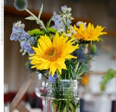 No sunflower~ but maybe a Dahlia!?Wildflower Centerpieces