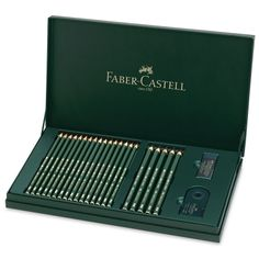 Help celebrate Faber Castell's 111th anniversary with this limited edition set. This set includes:  16 Castell 9000 pencils (6H, 5H, 4H, 3H, 2H, H, F, HB, B, 2B, 3B, 4B, 5B, 6B, 7B, and 8B) 5 Castell 9000 Jumbo pencils (HB, 2B, 4B, 6B, and 8B) Castell 9000 double-hole sharpener Dust-free eraser