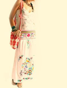 Paz hippie boho floral hand embroidered skirt | Flickr - Photo Sharing!