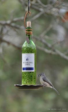 Eco friendly bird feeder- drill 2 holes on opposite sides of a glass bottle such as a wine bottle. (make sure the holes are at the bottom) Get a glue that will hold a saucer to the bottom of the glass bottle. I wonder if Gorilla Glue would work.... it works for so many projects!