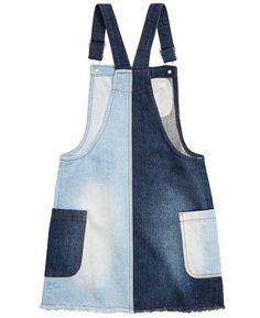 Epic Threads Big Girls Mixed Denim Cotton Skirtall, Created for Macy's - Blue XL Big Girl Fashion, Curvy Fashion, Plus Size Fashion, Curvy Outfits, Plus Size Outfits, Fashion Outfits, Denim Pinafore, Leather Apron, Shirred Dress