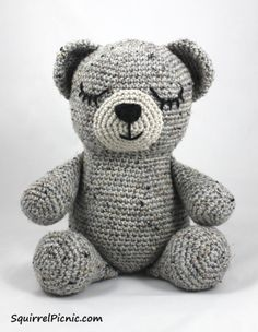 Sleepy Bear, Free Crochet Pattern by Squirrel Picnic, stuffed toy, amigurumi, #haken, gratis patroon (Engels), beer, knuffel, speelgoed, #haakpatroon