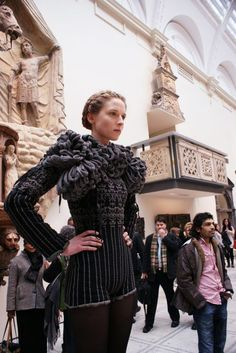 Two years ago, knitwear designer Juliana Sissons created a medieval and renaissance inspired knitwear collection at the Victoria  Albert Museum, London. As you can see she is an expert in shaping and structural pattern making.