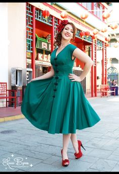 The Sandra Dress in Jade by Pinup Couture