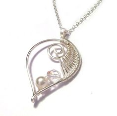 Sterling Silver Wire Weave Leaf Bridal Necklace - £29.00 from Kian Designs